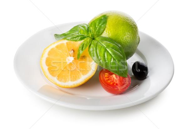 Сток-фото: цитрусовые · плодов · овощей · пластина · изолированный · белый