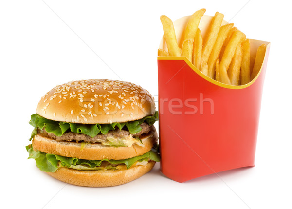 Hamburger and potato Stock photo © Givaga