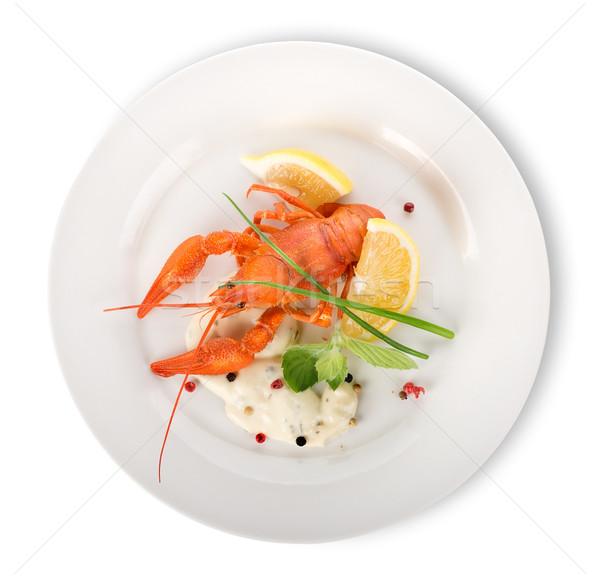 Langosta blanco placa aislado cena rojo Foto stock © Givaga
