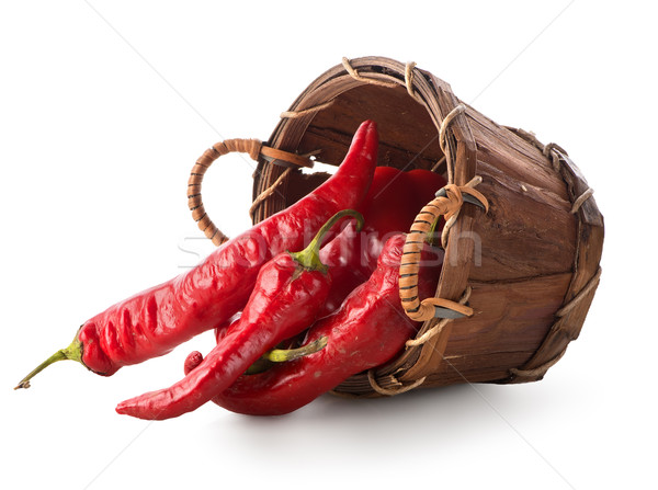 Red pepper in basket Stock photo © Givaga