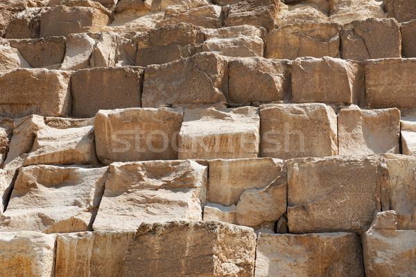 Fal piramis barna egyiptomi közelkép textúra Stock fotó © Givaga