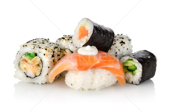 Foto stock: Sushi · pepino · isolado · branco · comida · verde