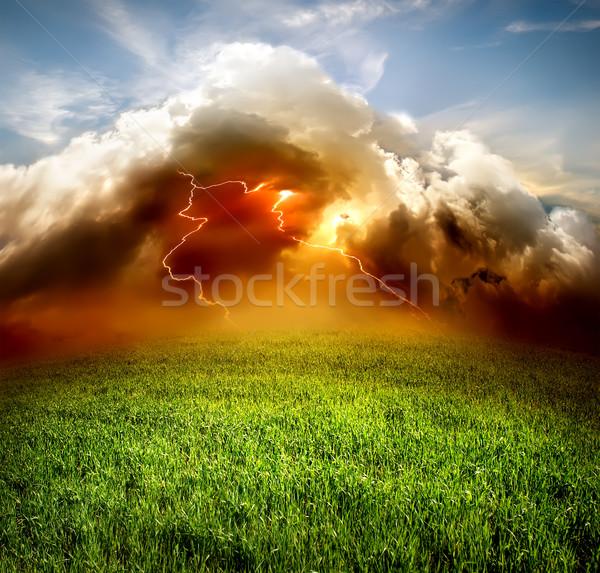 雷 フィールド 雲 緑 草 自然 ストックフォト © Givaga