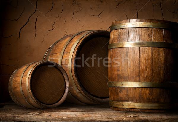 Trois bois argile mur cave bois Photo stock © Givaga