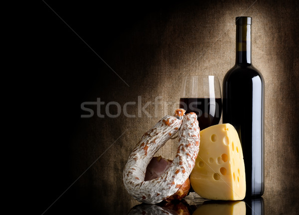 Wine bottle and cheese Stock photo © Givaga