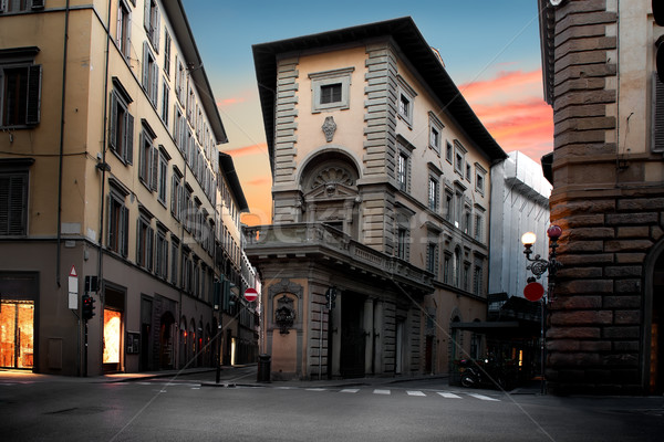 Szokatlan ház Florence napfelkelte Olaszország épület Stock fotó © Givaga