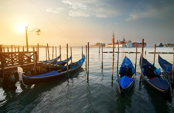 Gondolas and island Stock photo © Givaga