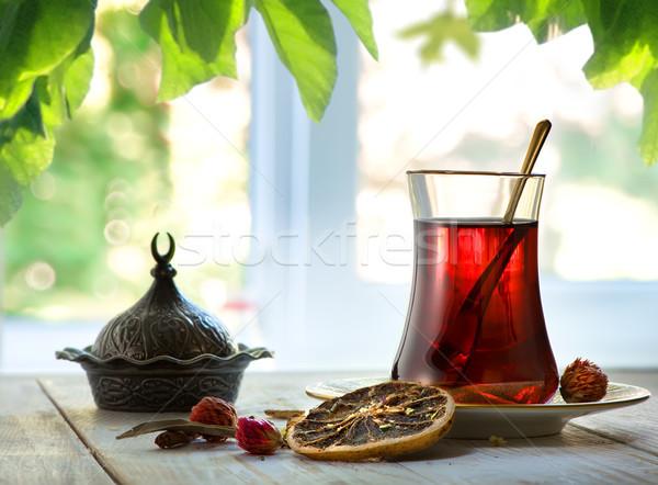 Fresco turco chá janela flor árvore Foto stock © Givaga