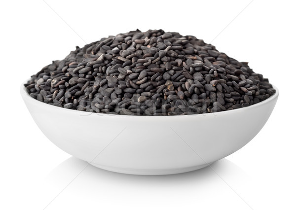 черный кунжут пластина изолированный белый продовольствие Сток-фото © Givaga