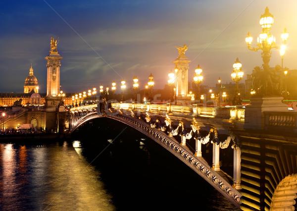 Сток-фото: моста · Париж · Франция · здании · закат · путешествия
