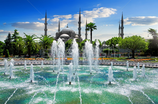 Blue Mosque and fountain Stock photo © Givaga
