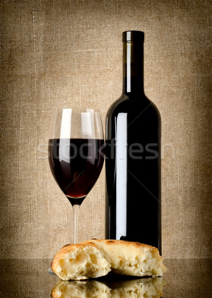 Wine and  bread on canvas Stock photo © Givaga