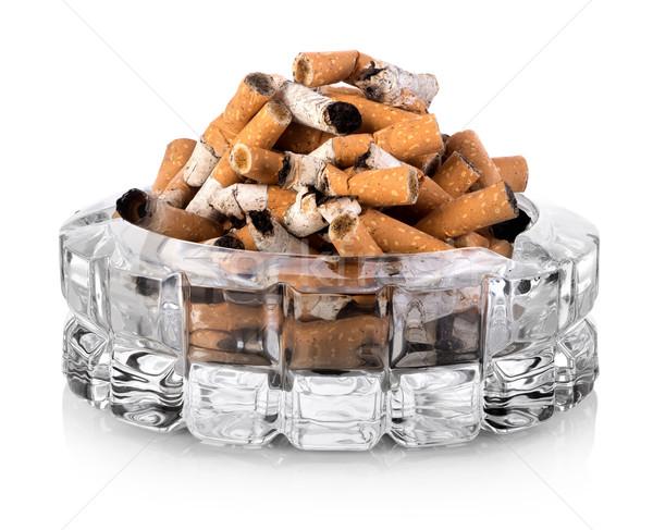 Asbak glas geïsoleerd witte rook stress Stockfoto © Givaga