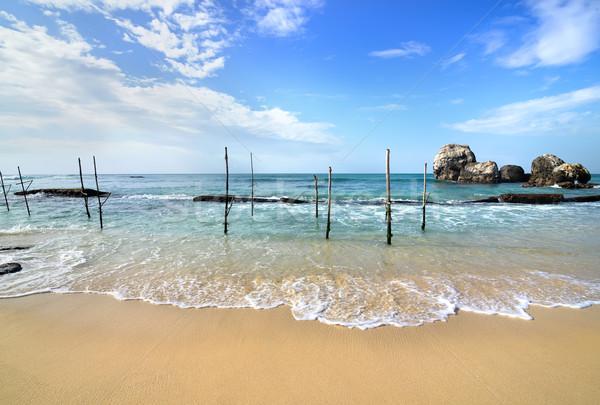 釣り 木製 ビーチ インド 海 スリ·ランカ ストックフォト © Givaga