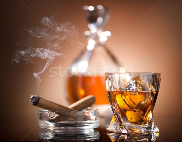 Whiskey szivar üveg klasszikus stílus üzlet Stock fotó © Givaga