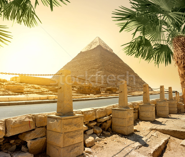 Pyramid and road Stock photo © Givaga