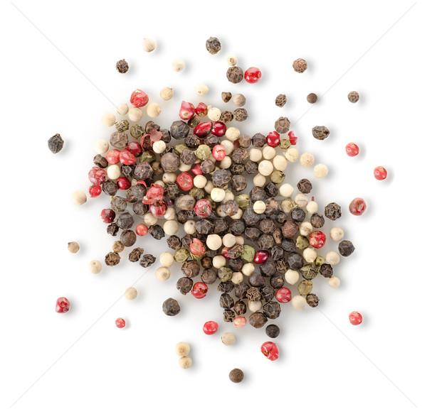 Especias rojo pimienta negro aislado blanco Foto stock © Givaga