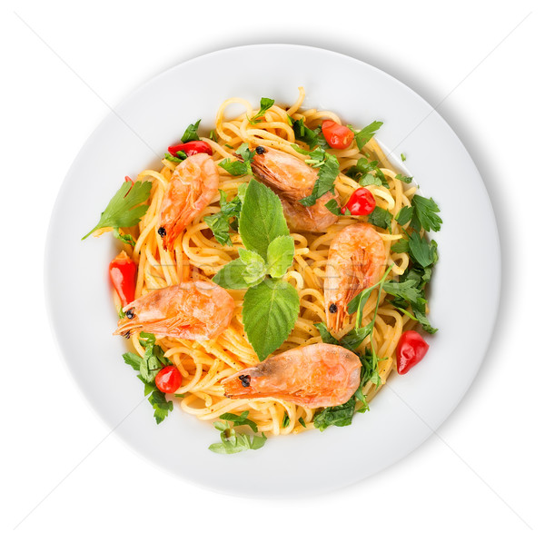 Prawns on spaghetti Stock photo © Givaga
