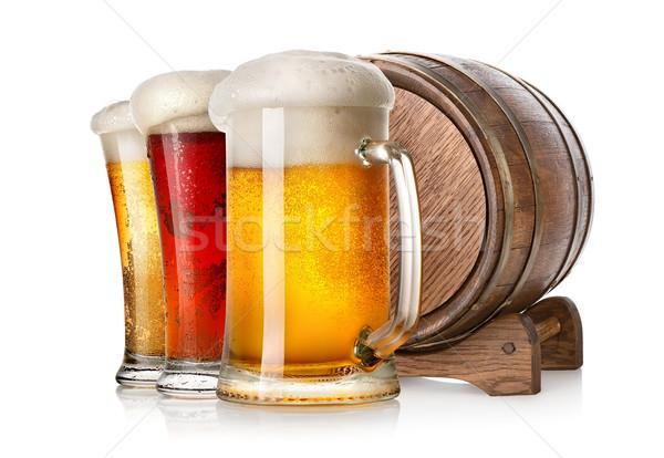 ストックフォト: ビール · キャスク · 木製 · 孤立した · 白 · パーティ