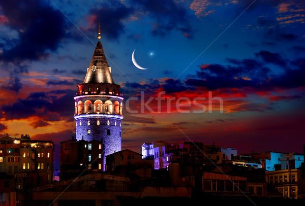 Tour nuit Istanbul ville coucher du soleil Photo stock © Givaga