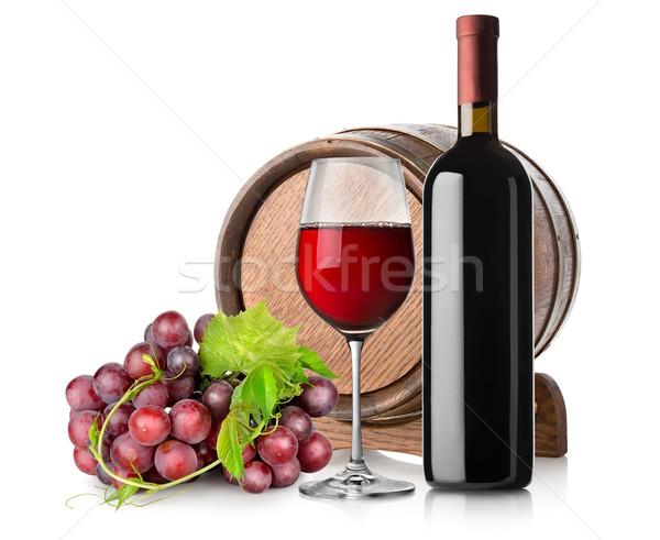 Wine with grape and barrel Stock photo © Givaga