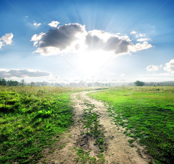 Vidéki út vad természet napos idő égbolt felhők Stock fotó © Givaga
