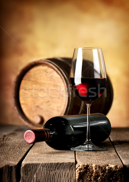 Stock photo: Wine and cask on table