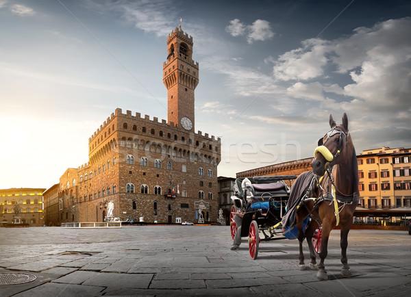 Horse on Piazza della Signoria Stock photo © Givaga