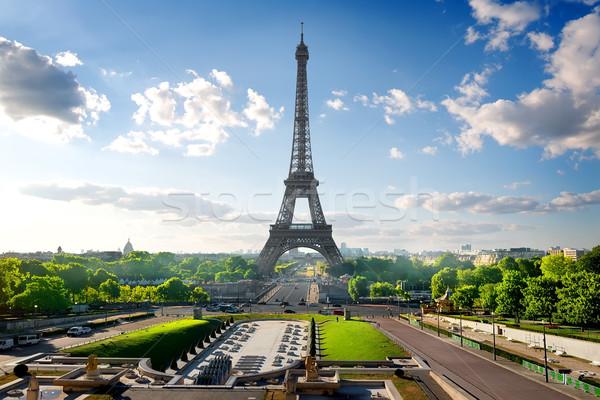 Eiffel-torony park Párizs Franciaország égbolt építkezés Stock fotó © Givaga