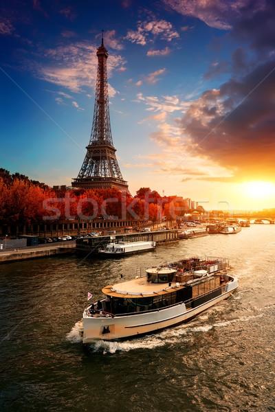 Eiffel torony ősz bank nap űr Stock fotó © Givaga