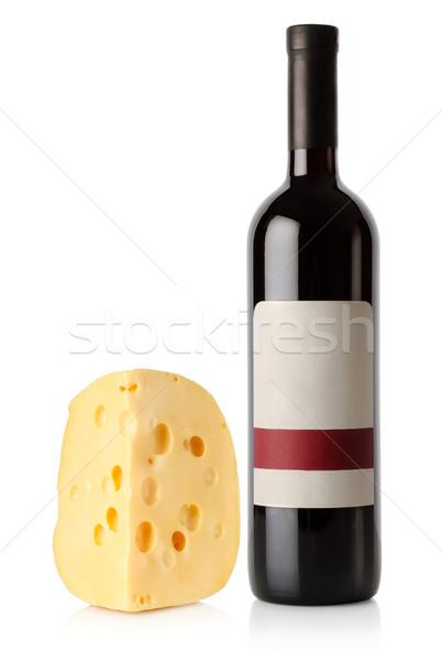 Botella de vino holandés queso aislado blanco alimentos Foto stock © Givaga