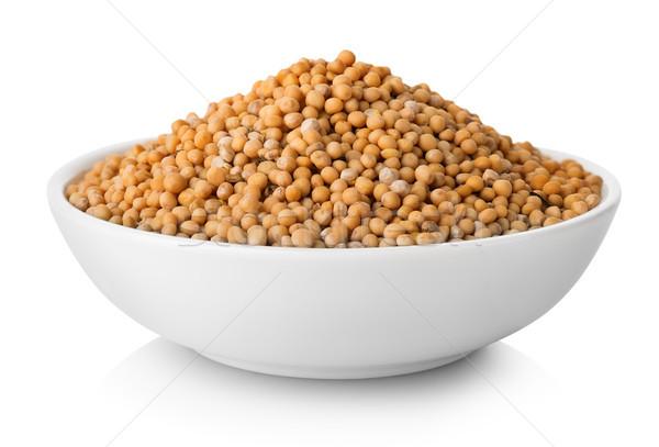 Stockfoto: Mosterd · zaden · plaat · geïsoleerd · witte · voedsel