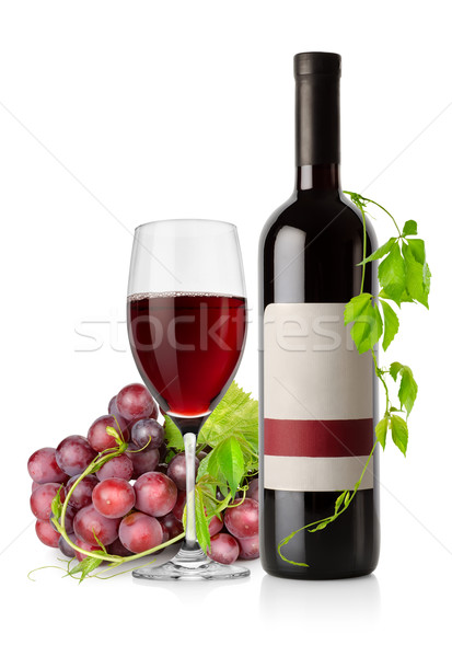 Bottle of red wine and grape Stock photo © Givaga