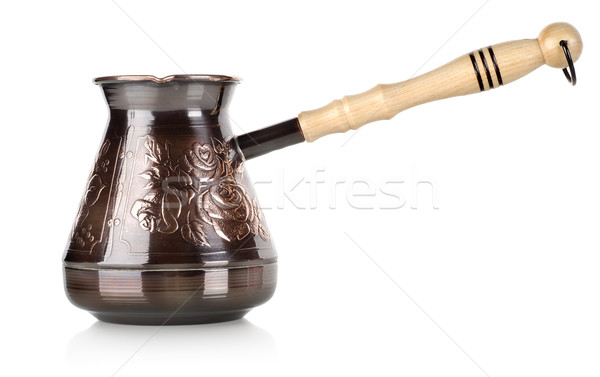 Cuivre café pot isolé blanche antique Photo stock © Givaga