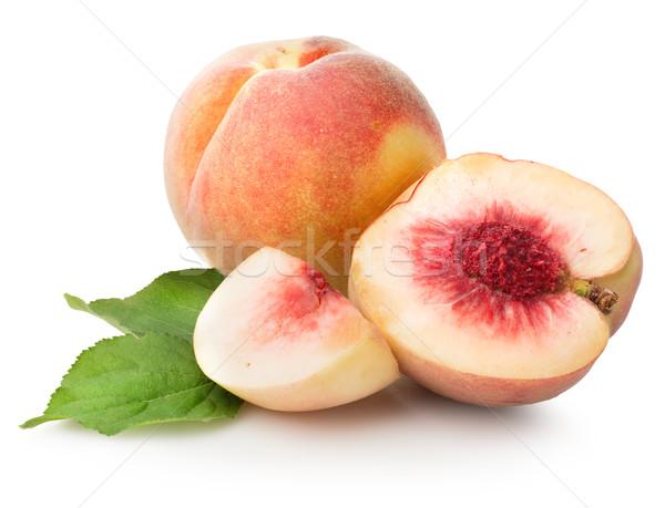 Jugoso duraznos aislado blanco frutas verano Foto stock © Givaga