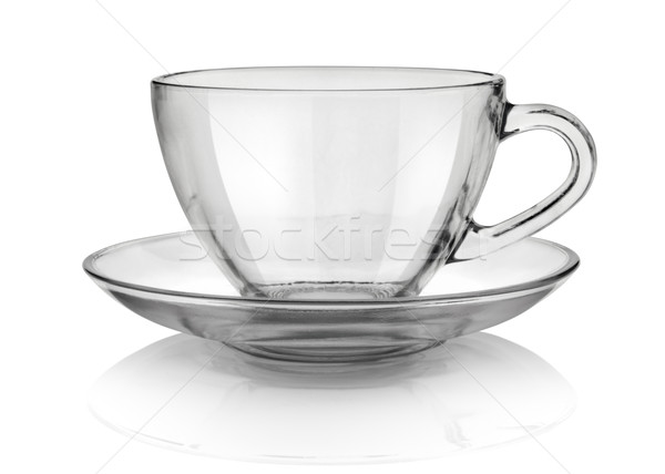 Tasse soucoupe verre isolé blanche Photo stock © Givaga
