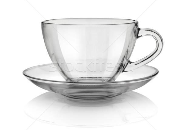カップ ソーサー ガラス 孤立した 白 ストックフォト © Givaga