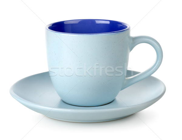 Bleu tasse soucoupe isolé blanche thé Photo stock © Givaga