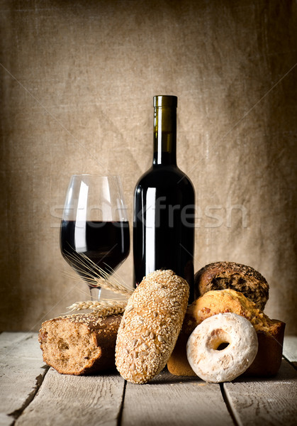 Wine and assortment of bread Stock photo © Givaga