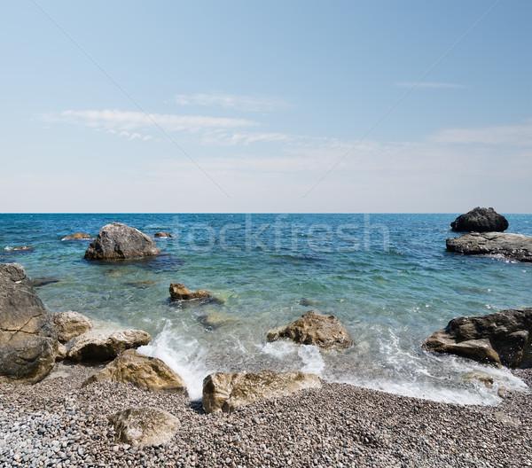 Preto mar praia belo nuvens água Foto stock © Givaga