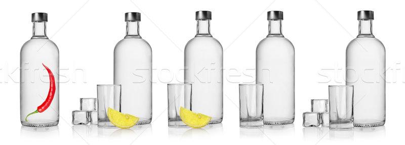Flessen wodka bril geïsoleerd witte drinken Stockfoto © Givaga