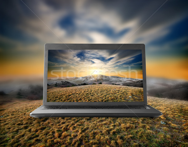 Berge Display Notebook Herbst Wald Sonne Stock foto © Givaga