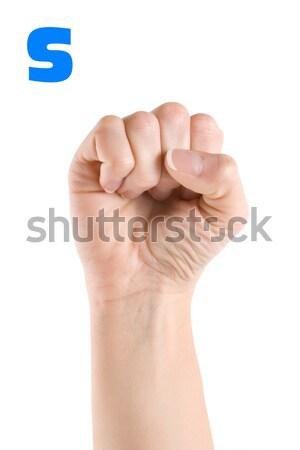 Carta dedo ortografia alfabeto americano linguagem gestual Foto stock © Givaga