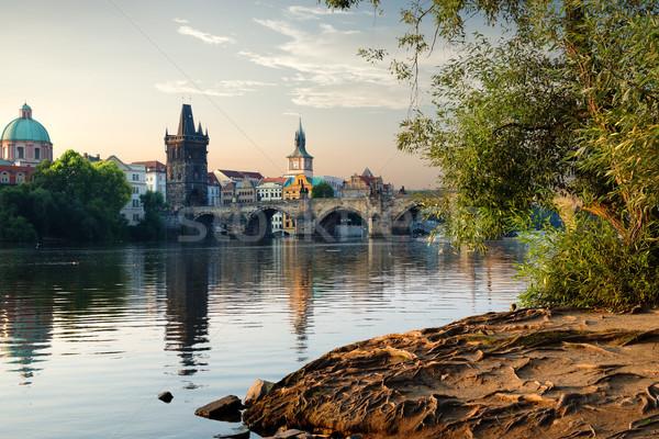 Prague sunrise vue rivière ciel bâtiment Photo stock © Givaga