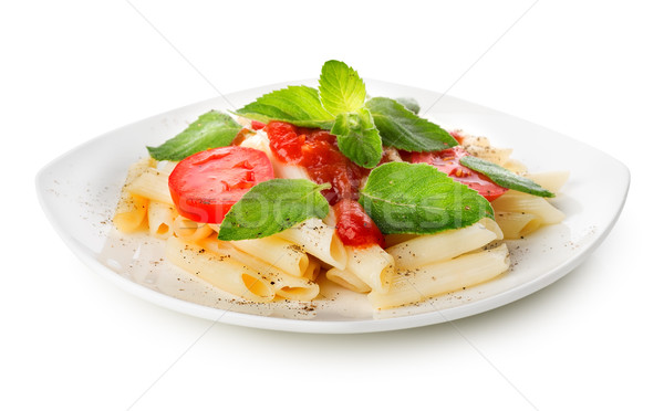 Pasta with ketchup and greens Stock photo © Givaga