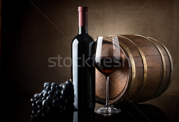 Red wine and wooden barrel Stock photo © Givaga