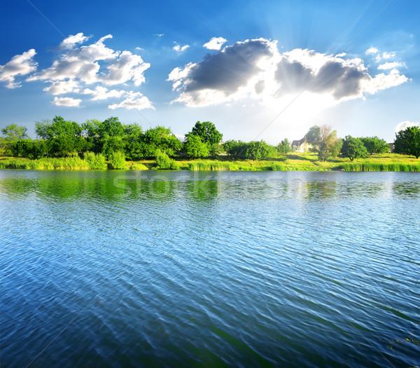 Río soleado verano día cielo árbol Foto stock © Givaga