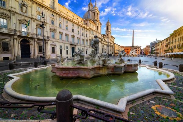 Stockfoto: Ochtend · fontein · Italië · hemel · water · gebouw