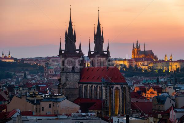 Eski Prag gündoğumu şehir sokak Stok fotoğraf © Givaga