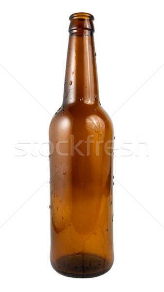 Bierfles gedekt waterdruppels geïsoleerd witte Stockfoto © Givaga
